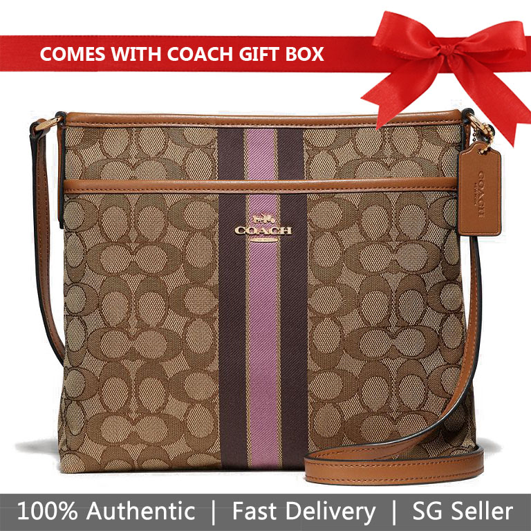 Coach File Crossbody In Signature Jacquard With Stripe Khaki / Pink / Gold # F39041