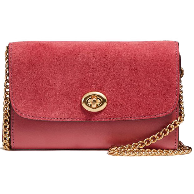 Coach Flap Phone Chain Crossbody Light Gold / Rouge # F24498