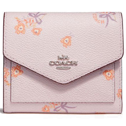 Coach Floral Bow Small Wallet Ice Pink Floral Bow / Silver # 29710