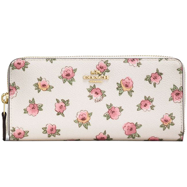 Coach Flower Patch Accordion Zip Wallet Floral Flower Patch / Ivory White / Gold # 12180