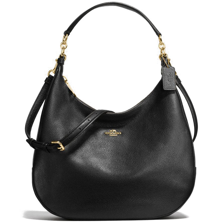 Coach Harley Hobo In Pebble Leather Gold / Black # F38259