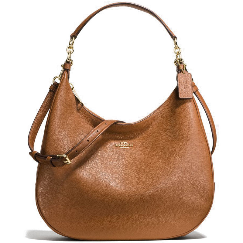 Coach Harley Hobo In Pebble Leather Gold / Saddle Brown # F38259