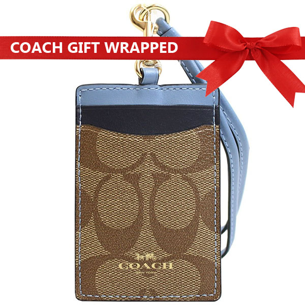 Coach Id Lanyard In Colorblock Signature Canvas With Gift Wrap Khaki / Midnight Pool / Gold # F57964