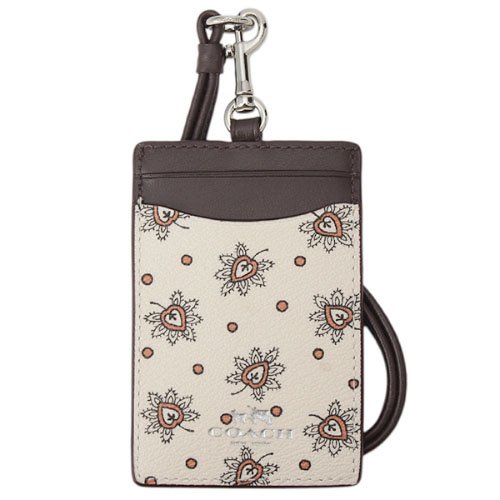 Coach Id Lanyard In Forest Bud Print Coated Canvas Silver / Chalk Multi # F11850