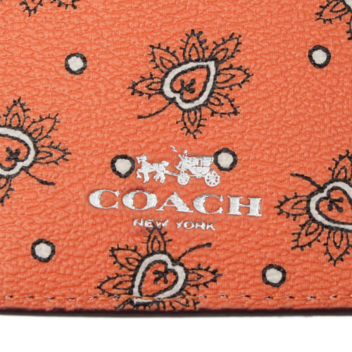 Coach Id Lanyard In Forest Bud Print Coated Canvas Silver / Coral Multi # F11850