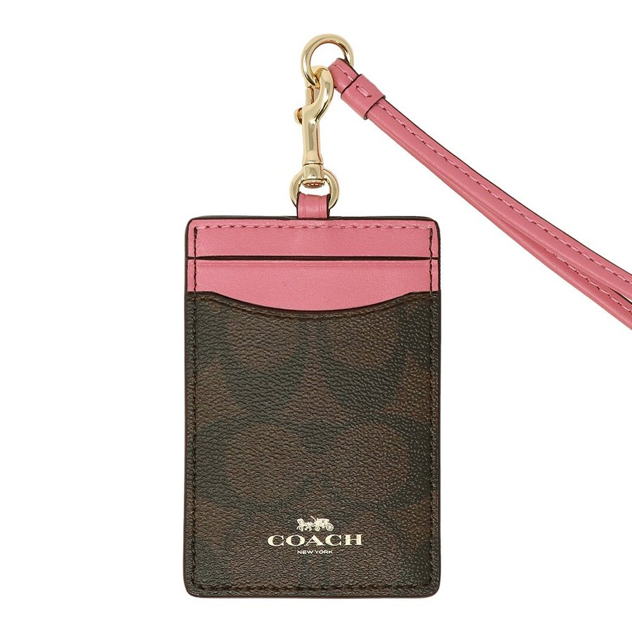 Coach Id Lanyard In Signature Canvas Brown / Pink / Gold # F63274