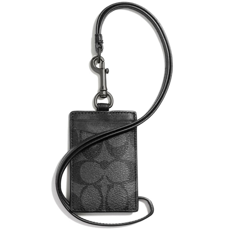 Coach Id Lanyard In Signature Charcoal / Black # F58106