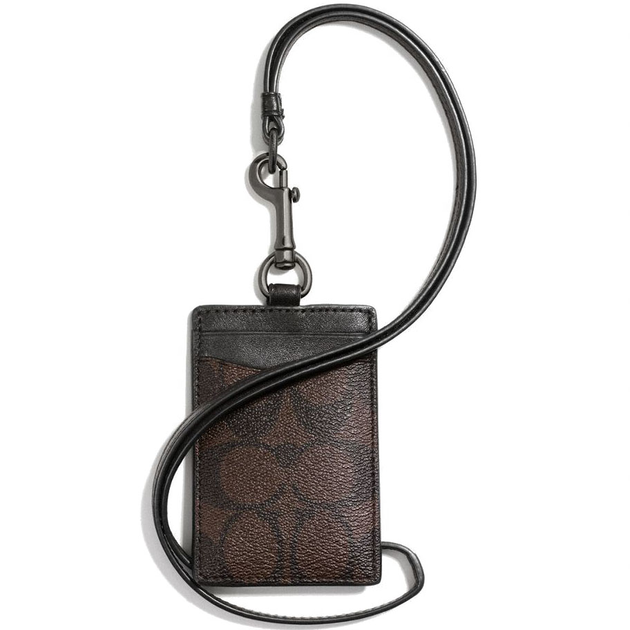 Coach Id Lanyard In Signature Mahogany / Brown # F58106