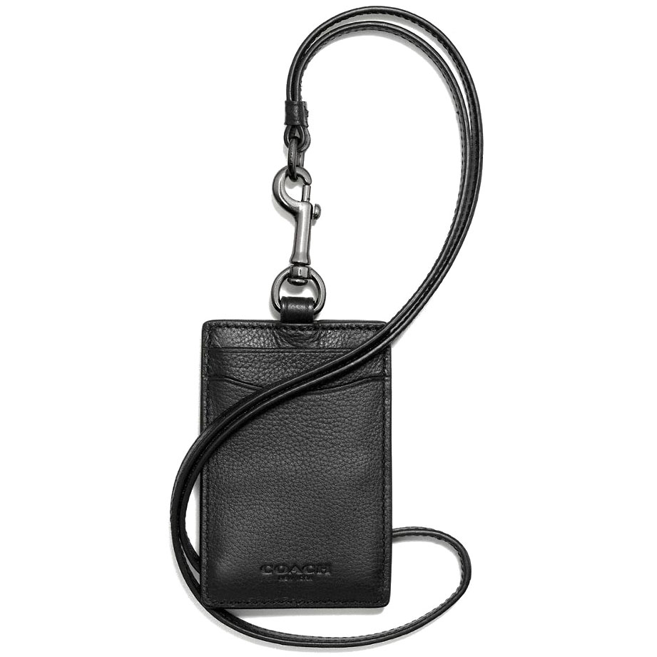 Coach Id Lanyard In Sport Calf Leather Black # F58114