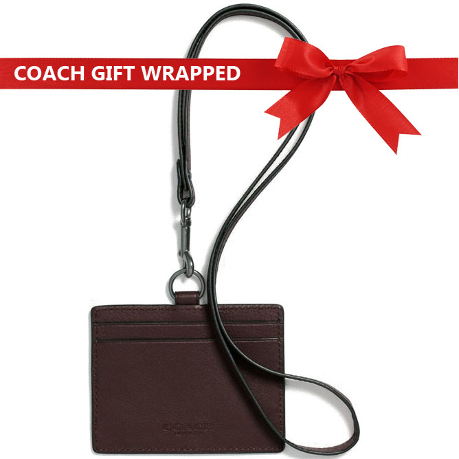 Coach Id Lanyard In Sport Calf Leather With Gift Wrap Mahogany # F63629