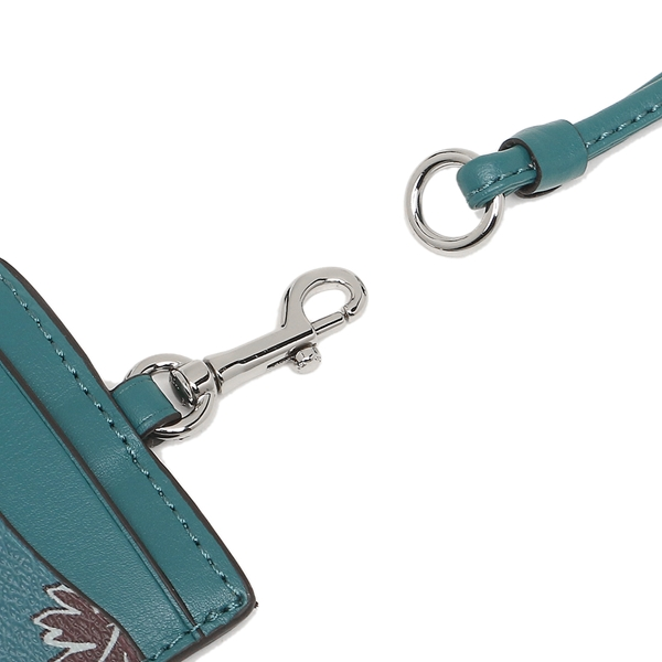 Coach Id Lanyard In Wildflower Print Coated Canvas Silver / Dark Teal # F12554