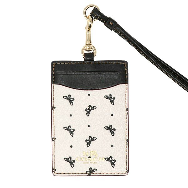 Coach Id Lanyard With Butterfly Dot Print Black / Chalk / Light Gold # F59788