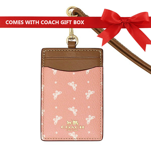 Coach Id Lanyard With Butterfly Dot Print Blush Pink / Saddle Brown / Gold # F59788