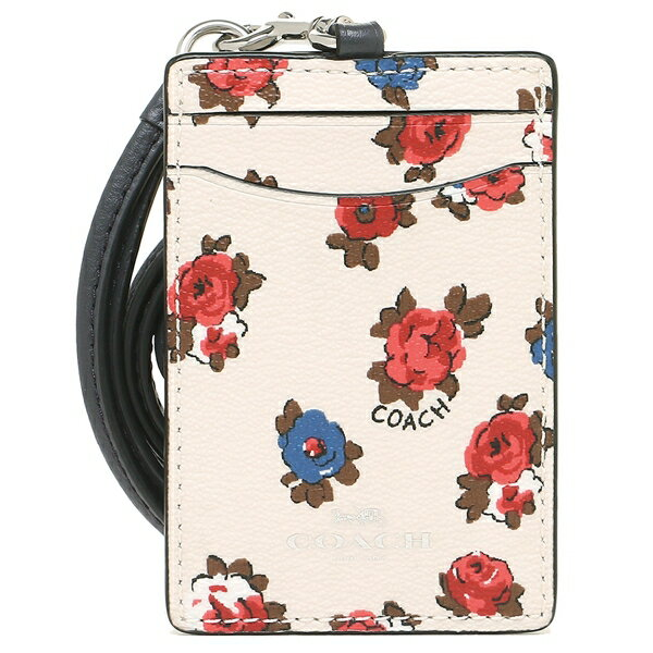 Coach Id Lanyard With Tea Rose Floral Print Chalk Multi / Silver # F31248