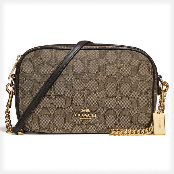 Coach Isla Chain Crossbody In Signature Jacquard Khaki / Brown / Gold # F28959