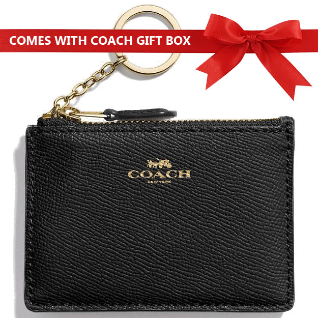 Coach Key Card Case In Gift Box Mini Skinny Id Case In Crossgrain Leather Black # F12186