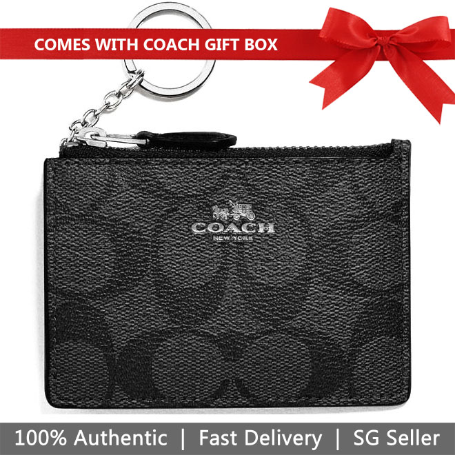 Coach Key Card Case In Gift Box Mini Skinny Id Case In Signature Coated Canvas Silver / Black Smoke # F16107