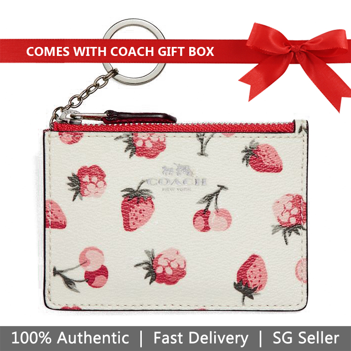 Coach Key Card Case In Gift Box Mini Skinny Id Case With Fruit Print Chalk White # F23676