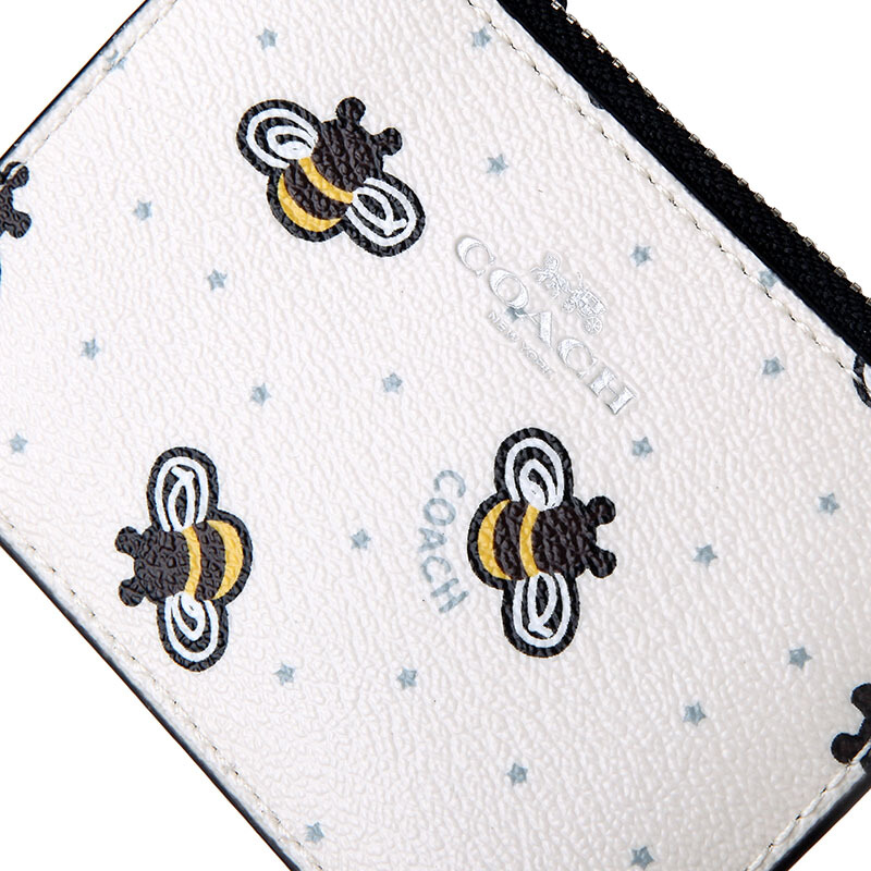 Coach Key Coin Case In Gift Box Mini Id Skinny With Bee Print Chalk White Multi / Silver # F26657
