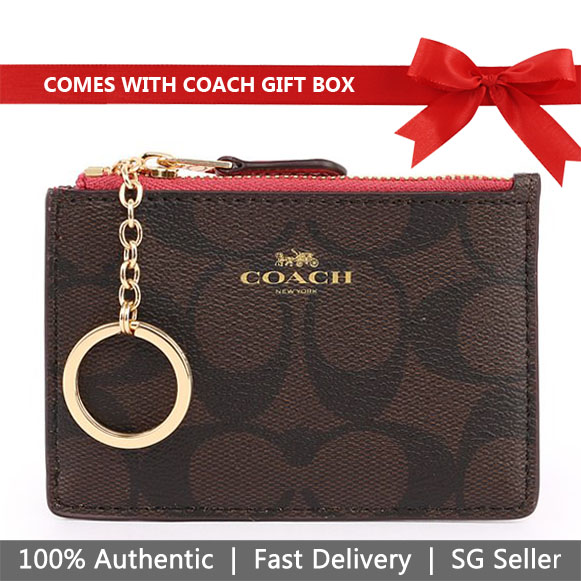 Coach Key Coin Case In Gift Box Mini Skinny Id Case In Signature Canvas Brown / Strawberry # F16107