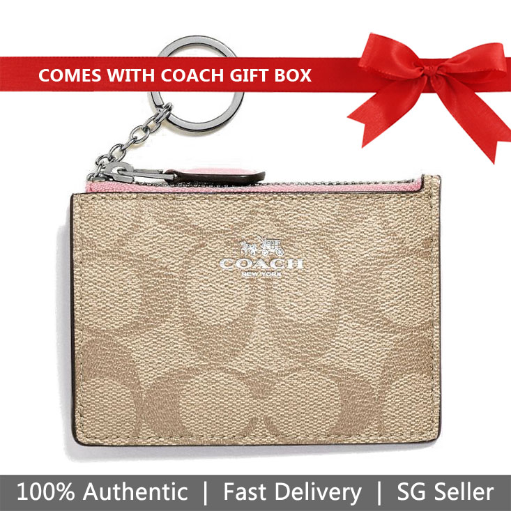Coach Key Coin Case In Gift Box Mini Skinny Id Case In Signature Canvas Light Khaki / Carnation Pink # F16107