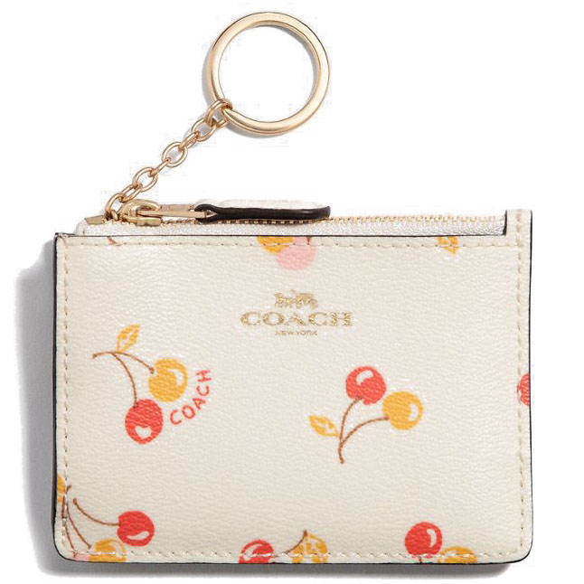 Coach Key Coin Case In Gift Box Mini Skinny Id Case With Cherry Print Chalk White # F31906