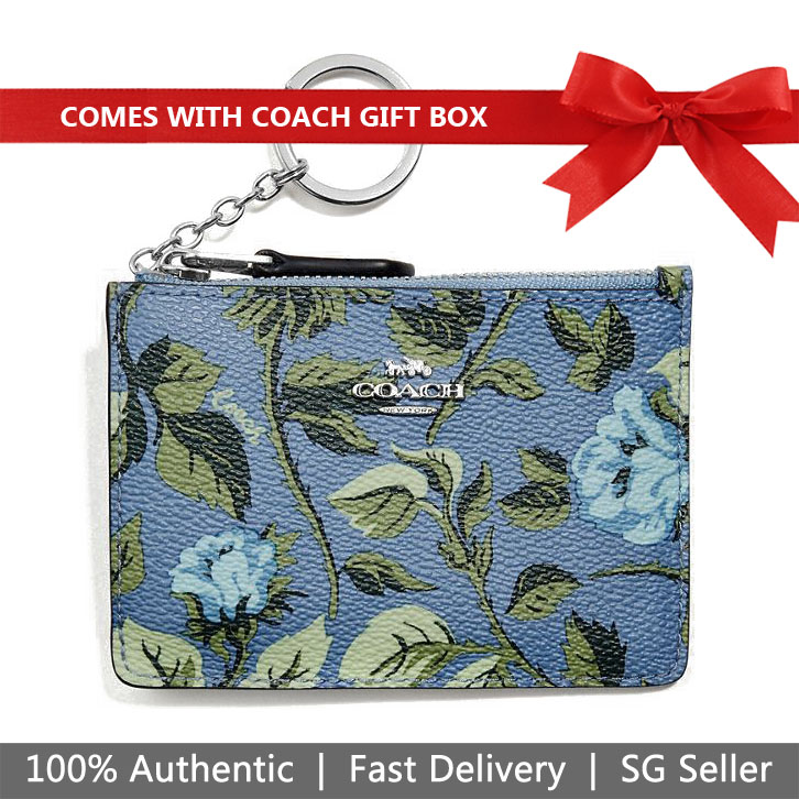 Coach Key Coin Case In Gift Box Mini Skinny Id Case With Sleeping Rose Print Blue Slate Sleeping Rose # 67124