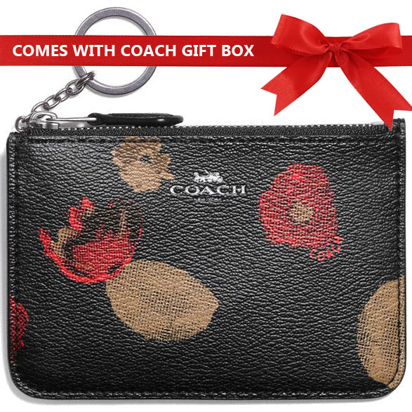 Coach Key Pouch In Gift Box Key Pouch With Gusset In Halftone Floral Print Coated Canvas Black Multi / Antique Nickel # F55999