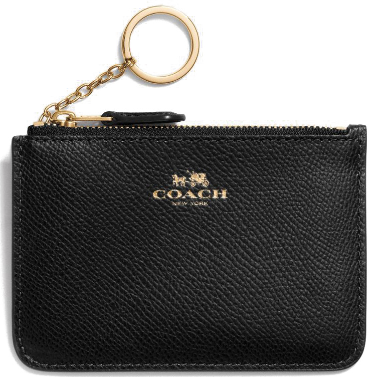 Coach Key Pouch With Gusset In Crossgrain Leather Gold / Black # F57854