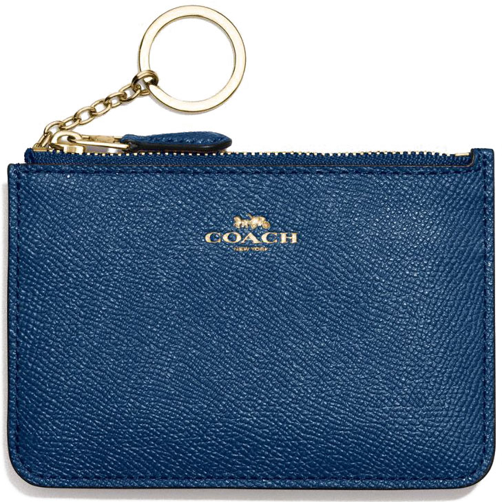 Coach Key Pouch With Gusset In Crossgrain Leather Marine Blue # F57854