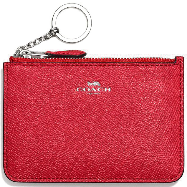 Coach Key Pouch With Gusset In Crossgrain Leather Silver / Bright Red # F57854