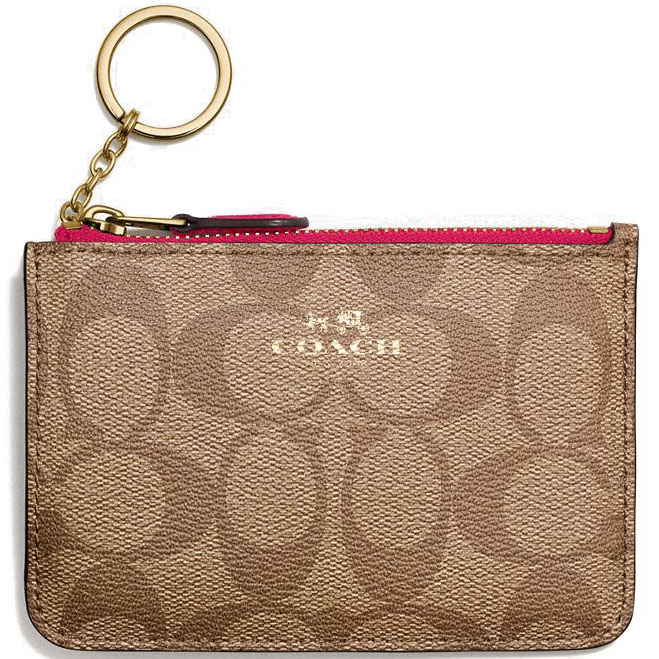 Coach Key Pouch With Gusset In Signature Gold / Khaki Bright Pink # F63923