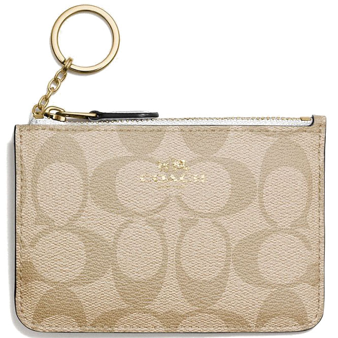 Coach Key Pouch With Gusset In Signature Light Khaki Brown / Chalk White # F63923