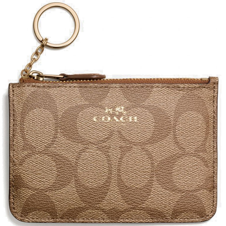Coach Key Pouch With Gusset In Signature Saddle Brown / Khaki # F63923