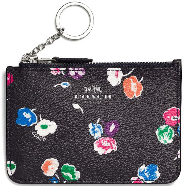 Coach Key Pouch With Gusset In Wildflower Print Coated Canvas Silver / Rainbow Multi # F65444