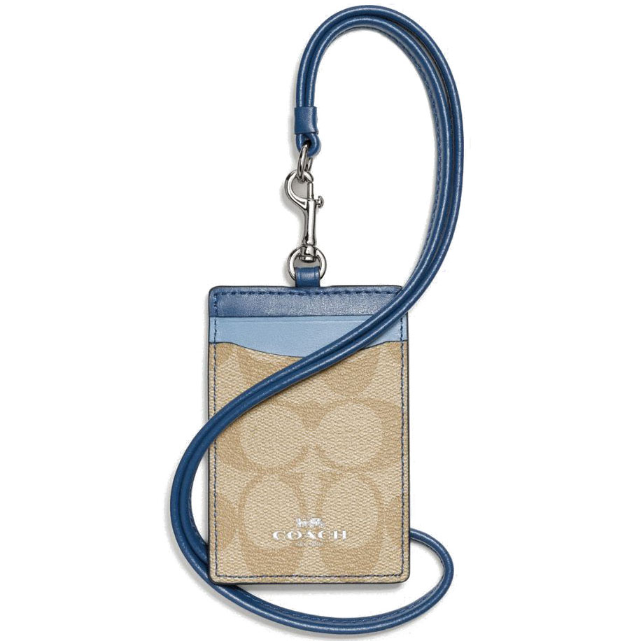 Coach Lanyard Id Case In Colorblock Signature Khaki / Blue / Silver # F57964
