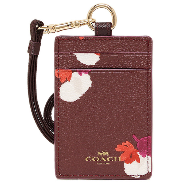 Coach Lanyard Id Case In Field Flora Print Coated Canvas Burgundy / Gold # F54707