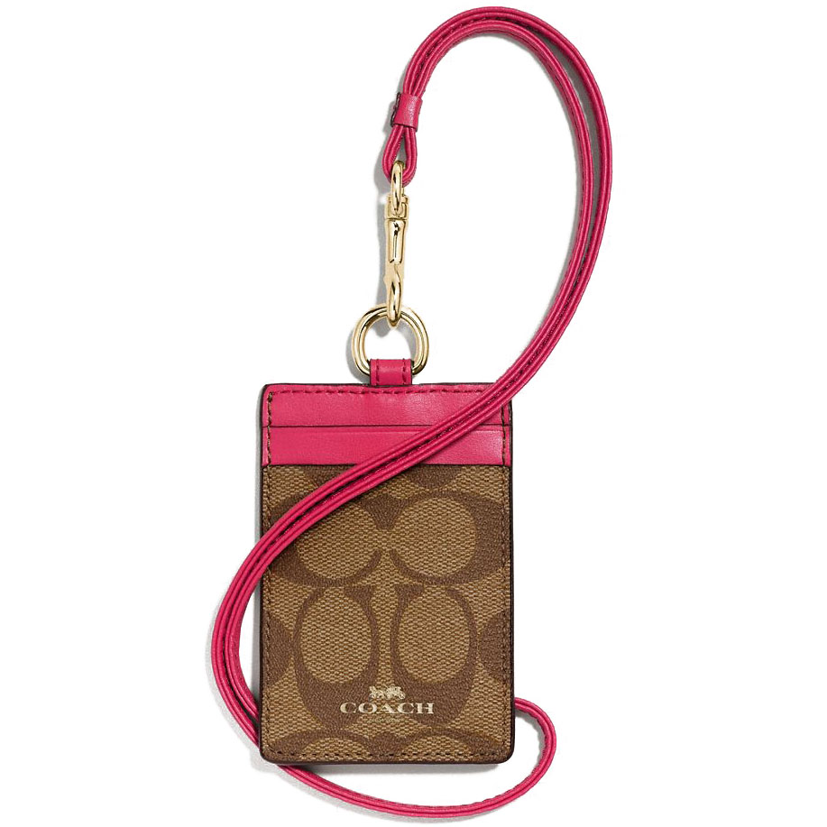 Coach Lanyard Id Case In Signature Gold / Khaki Bright Pink # F63274