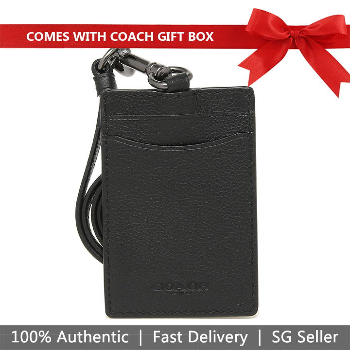 Coach Lanyard In Gift Box (Men) Black / Antique Nickel # F31657
