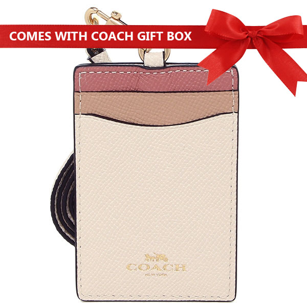 Coach Lanyard In Gift Box Id Lanyard In Colorblock Chalk Off White / Gold # F31913