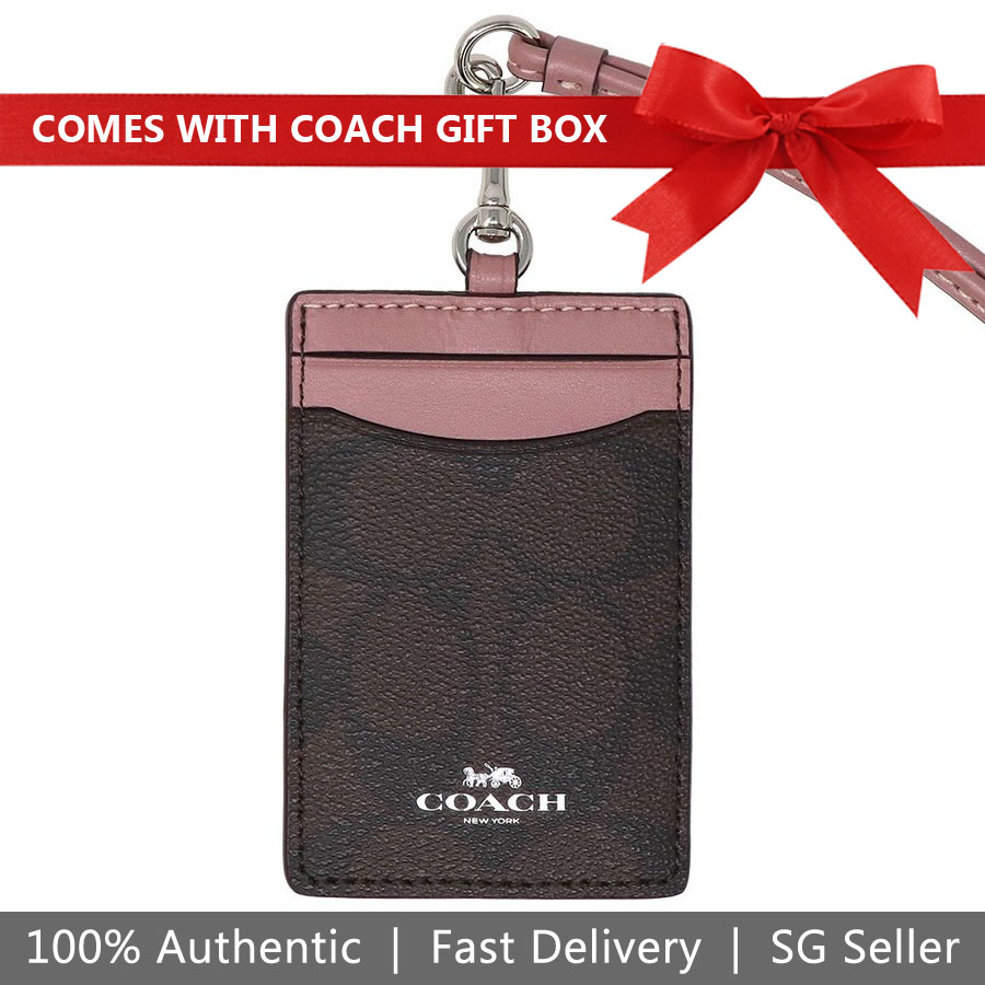 Coach Lanyard In Gift Box Id Lanyard In Signature Canvas Brown / Dusty Rose / Silver # F63274