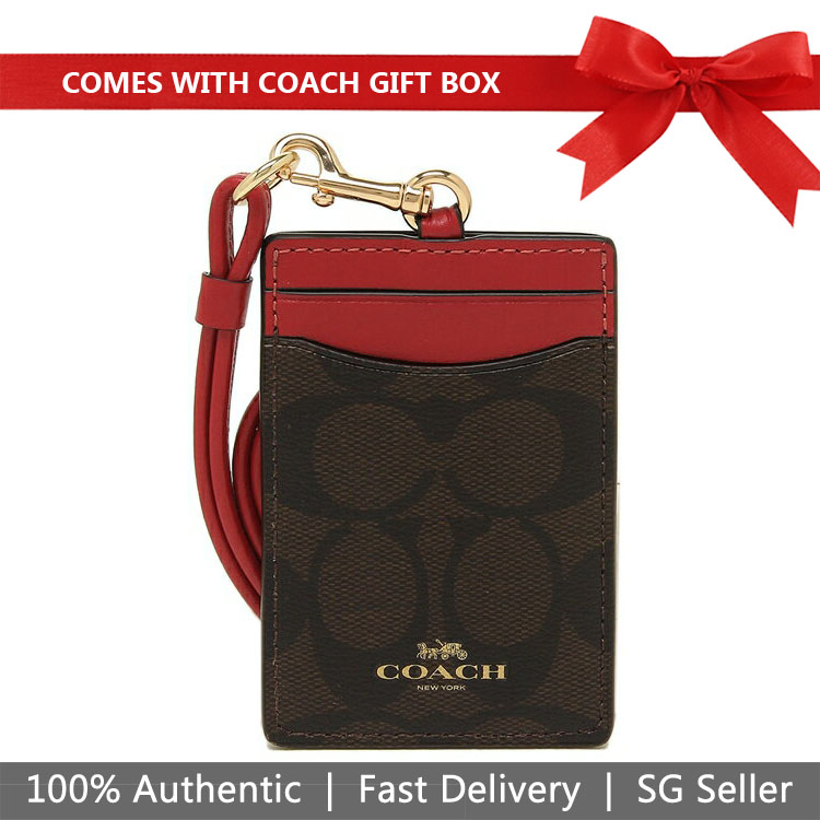Coach Lanyard In Gift Box Id Lanyard In Signature Canvas Brown / Ruby Red / Gold # F63274