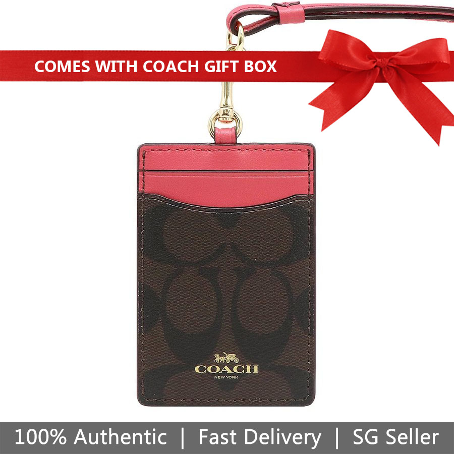 Coach Lanyard In Gift Box Id Lanyard In Signature Canvas Brown / Strawberry # F63274