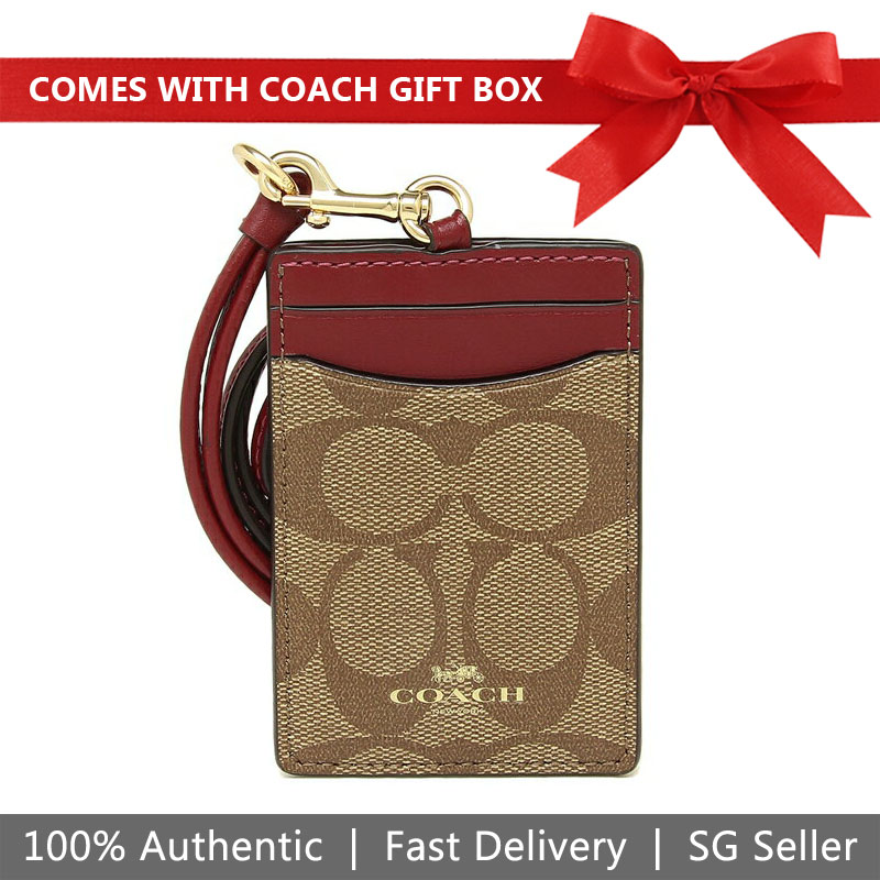 Coach Lanyard In Gift Box Id Lanyard In Signature Canvas Khaki / Cherry Red # F63274