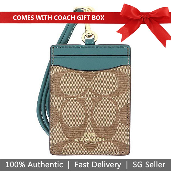 Coach Lanyard In Gift Box Id Lanyard In Signature Canvas Khaki / Dark Turquoise / Gold # F63274