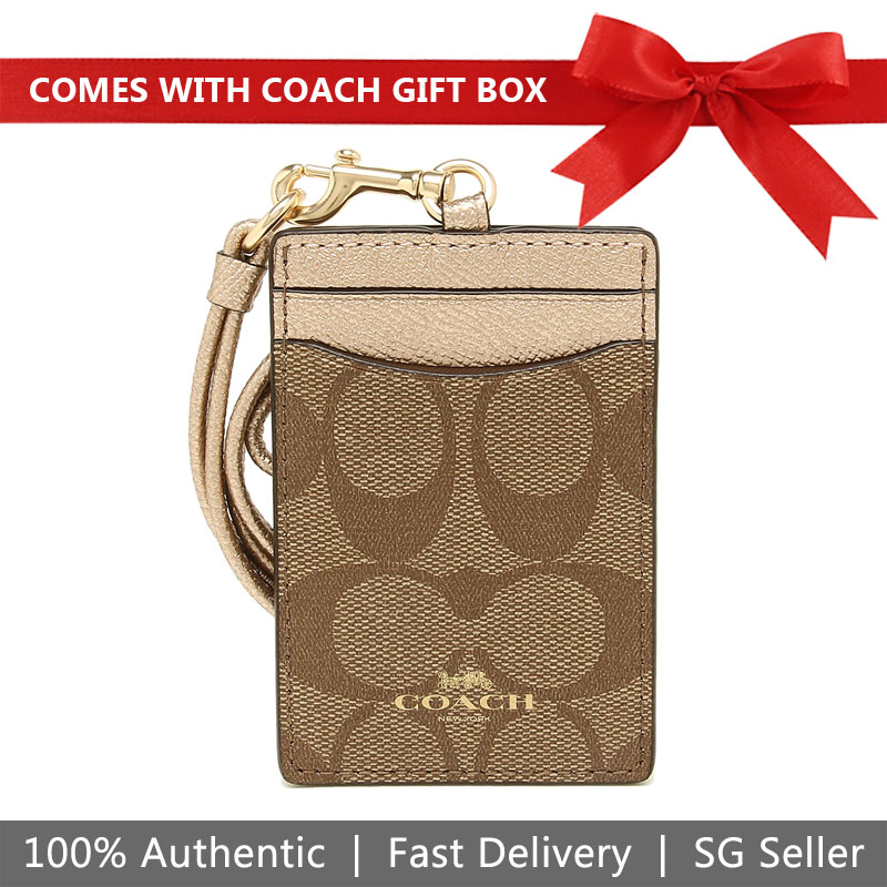 Coach Lanyard In Gift Box Id Lanyard In Signature Canvas Khaki / Rose Gold / Gold # F63274