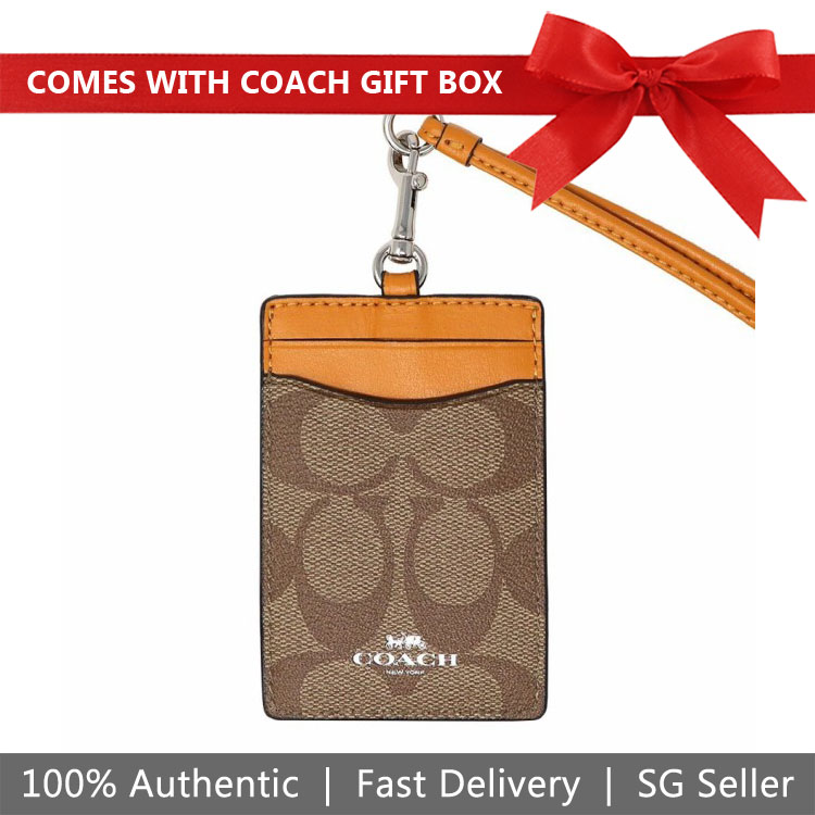 Coach Lanyard In Gift Box Id Lanyard In Signature Canvas Khaki / Tangerine Orange / Silver # F63274