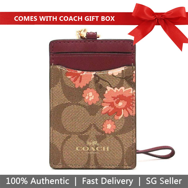 Coach Lanyard In Gift Box Id Lanyard In Signature Canvas With Prairie Daisy Cluster Print Khaki / Coral # F78845