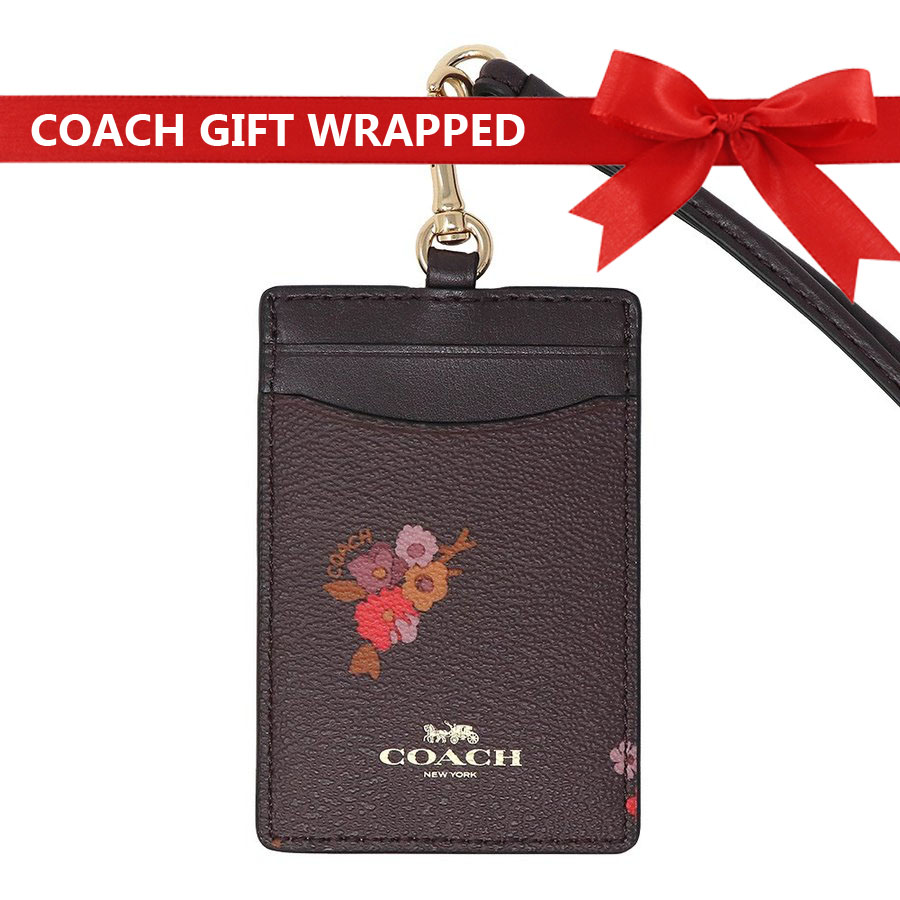 Coach Lanyard In Gift Box Id Lanyard With Baby Bouquet Print Oxblood Multi / Gold # F32005