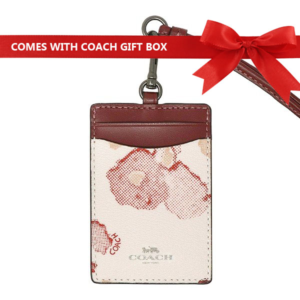 Coach Lanyard In Gift Box Id Lanyard With Halftone Floral Print Chalk White / Red / Black Antique Nickel # F39055